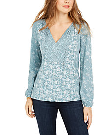 Lucky Brand Tie-Neck Floral Print Top