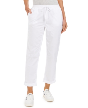 Style & Co Pants PETITE TWILL-TAPE-TIE UTILITY PANTS, CREATED FOR MACY'S