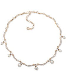 """Gold-Tone Crystal & Imitation Pearl Collar Necklace, 16"""" + 3"""" extender"""
