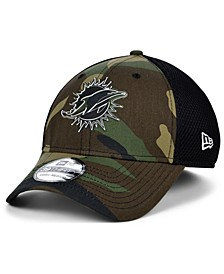 Miami Dolphins Black White Camo Mold Neo 39THIRTY Stretch Fitted Cap