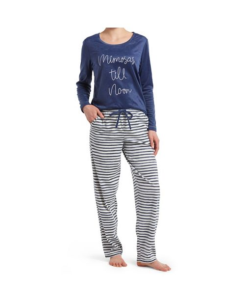 Hue Mimosas Til Noon Embroidered Suede Pajama Set