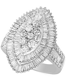 Diamond Baguette-Cut Oval Halo Statement Ring (2 ct. t.w.) in 14k White Gold