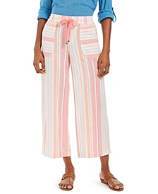 Petite Striped Linen-Blend Pants, Created for Macy's