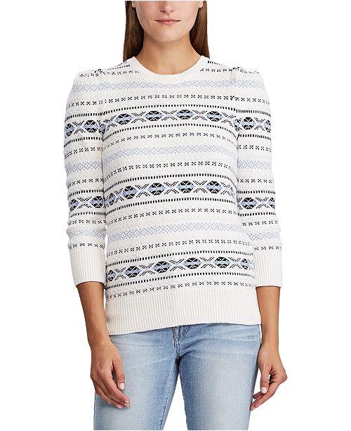 Lauren Ralph Lauren Petite Cable Cotton Puff-Sleeve Sweater