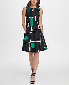 Abstract Print Zipper Fit & Flare Dress