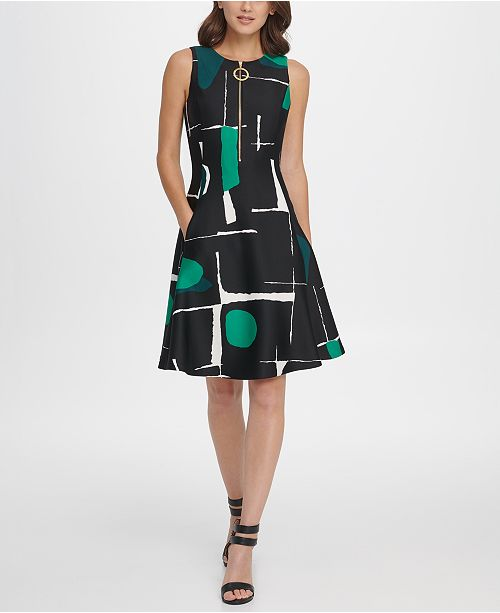 DKNY Abstract Print Zipper Fit & Flare Dress