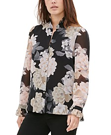 Printed Ruffled High-Collar Blouse