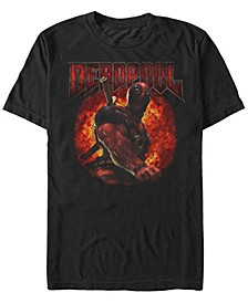 Men's Deadpool Muscles and Flames, Short Sleeve T-Shirt