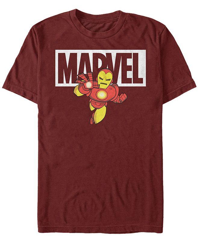 Marvel Men's Classic Iron Man Cartoon Brick Logo, Short Sleeve T-Shirt