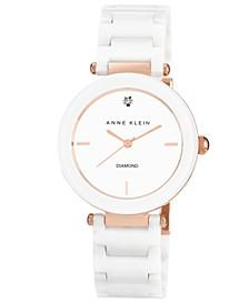 Women's Diamond Accent White Ceramic Bracelet Watch 33mm AK-1018RGWT