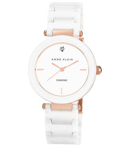 Anne Klein Women's Diamond Accent White Ceramic Bracelet Watch 33mm AK-1018RGWT