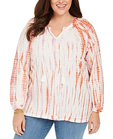 Plus Size Cotton Tie-Dyed Peasant Top, Created For Macy's