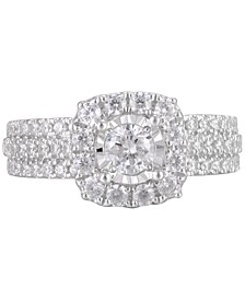 Diamond Halo Triple Row Ring (1-1/4 ct. t.w.) in 14k White Gold