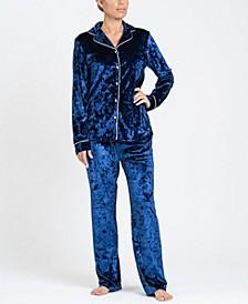 Notch Collar Velvet Pajama Set, Online Only
