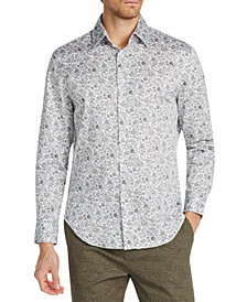Men's Slim-Fit Performance Stretch Ornate Floral Long Sleeve Shirt