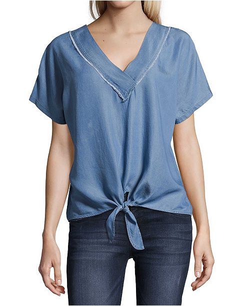 John Paul Richard Petite Tie-Front Chambray Blouse
