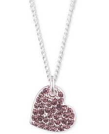 "Two-Tone Micropavé Heart Pendant Necklace, Created For Macy's, 16"" + 3"" extender"