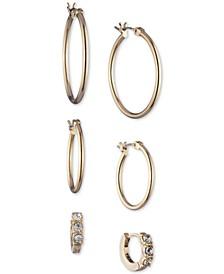 Gold-Tone 3-Pc. Set Crystal Hoop Earrings