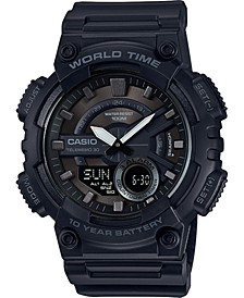 Men's Analog-Digital Black Resin Strap Watch 50mm