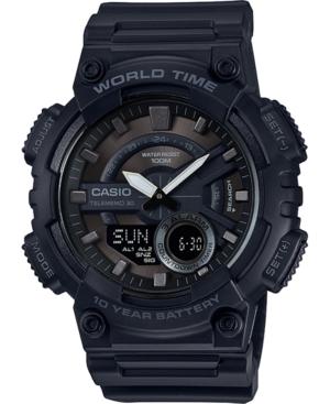 Men's Analog-Digital Black Resin Strap Watch 50mm