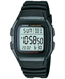 Unisex Digital Black Resin Strap Watch 38mm