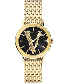 Women's Swiss Virtus Champagne Ion-Plated Stainless Steel Bracelet Watch 36mm