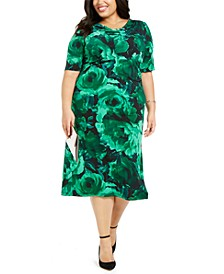 Plus Size Floral-Print Midi Dress