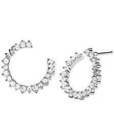 Sterling Silver Pavé Front-Facing Hoop Earrings