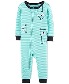 Baby Boys 1-Pc. Striped Bears Cotton Pajamas