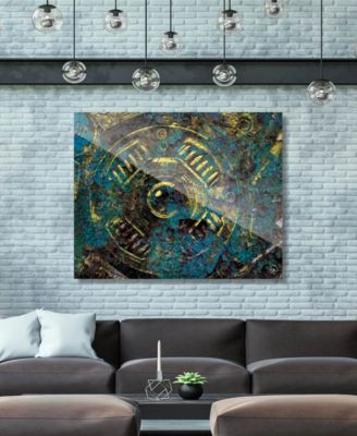 """Encrusted Industrial Onlooker in Canary Abstract 24"""" x 36"""" Acrylic Wall Art Print"""