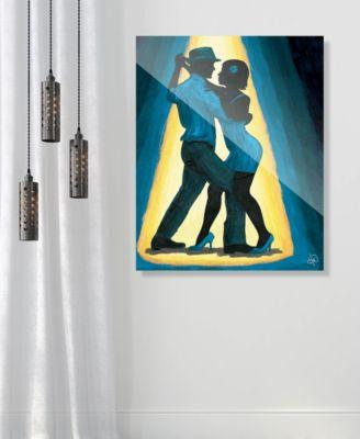 "Spotlight Couple Dancing in Blue 16"" x 20"" Acrylic Wall Art Print"