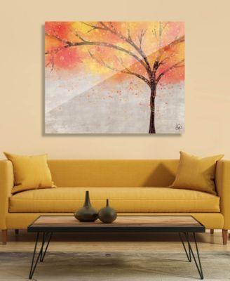 "Sparkle Tree in Orange Yellow Abstract 16"" x 20"" Acrylic Wall Art Print"