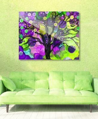 "Mystic Orb Tree on Purple Abstract 20"" x 24"" Acrylic Wall Art Print"