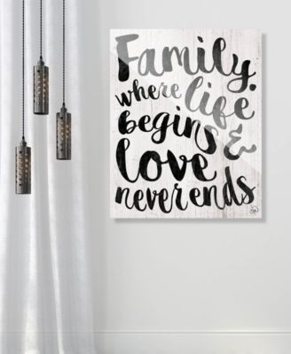 """Family - Where Life Beings in Black 24"""" x 36"""" Acrylic Wall Art Print"""