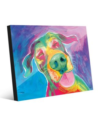 Jesse Smiling Dog on Blue Purple Abstract 20