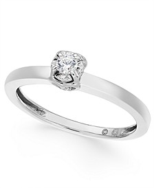 Diamond Solitaire Side Heart Promise Ring (1/10 ct. t.w.) in 10k White Gold