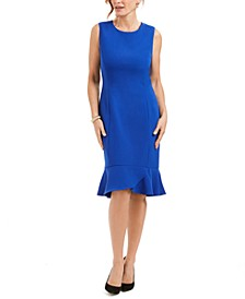 Petite Scalloped-Flounce Sheath Dress