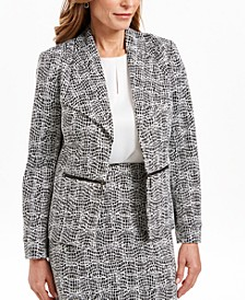 Petite Wing-Lapel Metallic Jacket
