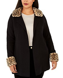 Plus Size Faux-Fur-Trimmed Open-Front Cardigan
