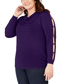 Plus Size Embellished Cowl-Neck Top