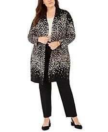Plus Size Ombré Patterned Cardigan, Created For Macy's