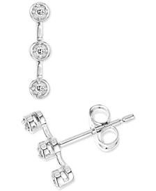 Diamond Accent Bezel Triple-Stone Bar Stud Earrings in 14k White Gold