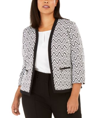 Plus Size Zigzag Knit Jacket