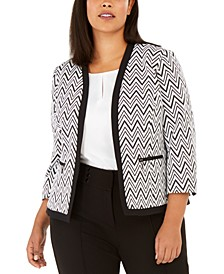 Plus Size Zigzag Knit Jacket
