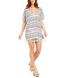 Printed Crochet Fringed Caftan Cover-Up, Created For Macy's