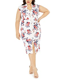 Crave Fame Trendy Plus Size Floral-Print Bodycon Dress