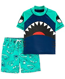 Toddler Boys 2-Pc. Shark Rash Guard & Swim Trunks Set