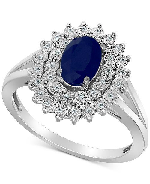 Macy's Sapphire (3/4 ct. t.w.) & Diamond (1/10 ct. t.w.) Ring in Sterling Silver