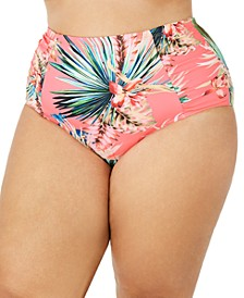 Plus Size Tropical Rain Printed High-Waist Bottoms
