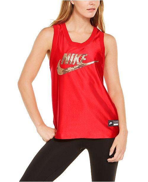 Nike Sportswear Sequined-Logo Tank Top